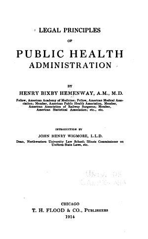 Legal Principles of Public Health Administration PDF