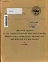 Carnotite Deposits in the Carrizo Mountains Area  Navajo Indian Reservation  Apache County  Arizona  and San Juan County  New Mexico PDF