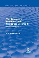 The Decrees of Memphis and Canopus  Vol  II  Routledge Revivals  PDF