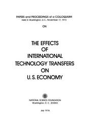 Papers and Proceedings of a Colloquium on the Effects of International Technology Transfers on U S  Economy PDF