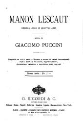 Manon Lescaut: dramma lirico in 4 atti
