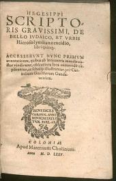 Hegesippi ... de bello Iudaico, et urbis Hierosolymitanae excidio, libri quinque