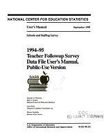1994-95 Teacher Followup Survey Data File User's Manual