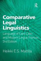 Comparative Legal Linguistics PDF