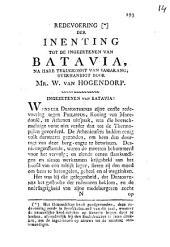 Redevoering der inenting tot de ingezetenen van Batavia, na hare terug komste van Samarang