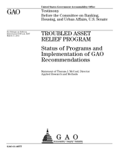 Troubled Asset Relief Program: Status of Programs and Implementation of GAO Recommendations: Testimony Before the Committee on Banking, Housing, and Urban Affairs, U.S. Senate