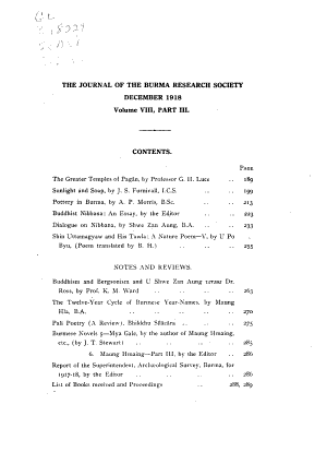 Journal of the Burma Research Society PDF