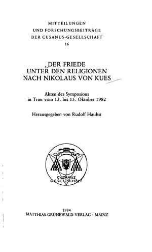 Der Friede unter den Religionen nach Nikolaus von Kues PDF
