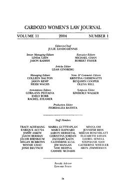 Cardozo women s law journal PDF