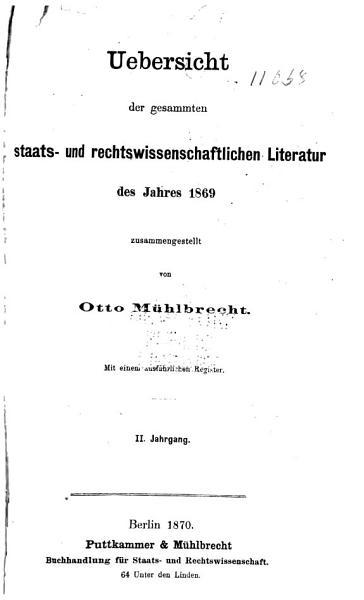 Download Allgemeine Bibliographie Der Staats  und Rechtswissenschaften Book