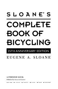 Sloane s Complete Book of Bicycling PDF
