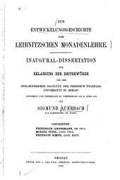 Zur Entwickelungsgeschichte [sic] der Leibnitzschen Monadenlehre