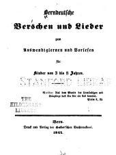Berndeutsche verschen und lieder zum auswendiglernen und vorlesen für kinder von 3 bis 8 jahren alt. ...