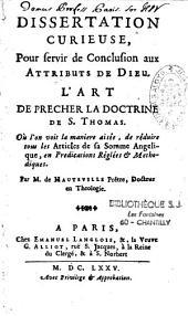 Dissertation curieuse, pour servir de conclusion aux attributs de Dieu