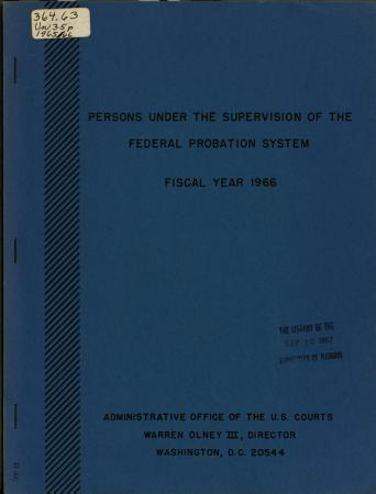 Persons Under the Supervision of the Federal Probation System PDF