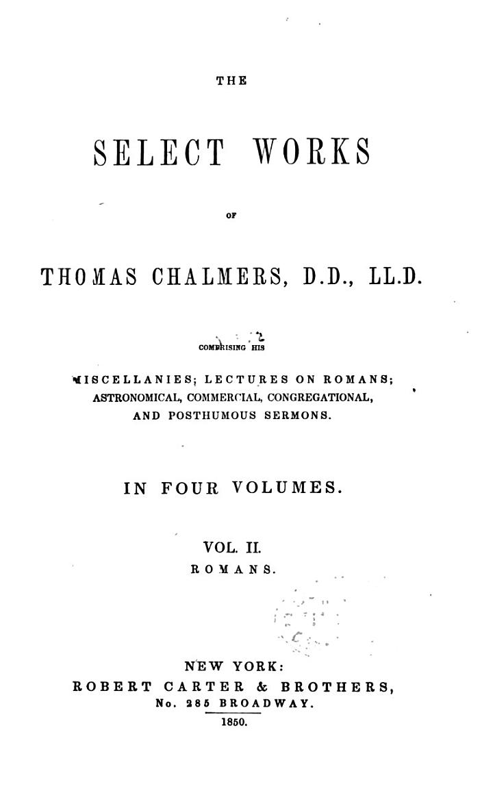 Select Works of Thomas Chalmers