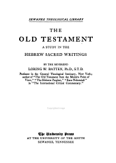 The Old Testament: A Study in the Hebrew Sacred Writings