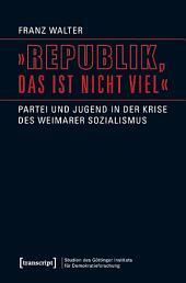 'Republik, das ist nicht viel': Partei und Jugend in der Krise des Weimarer Sozialismus
