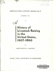 A History of Livestock Raising in the United States  1607 1860 PDF