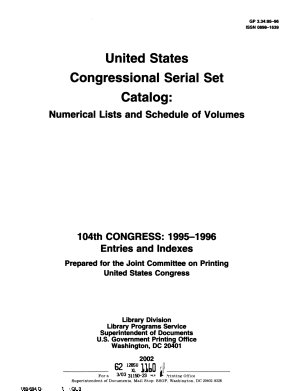 United States Congressional Serial Set Catalog PDF