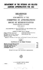 Department of the Interior and related agencies appropriations for 1984