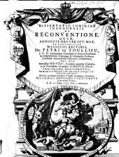 Dissertatio juridica inauguralis de reconventione