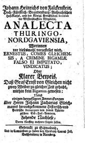 Analecta Nordgaviensia, Oder: Verschiedentliche nachgeholte Merckwürdigkeiten des alten Nordgaus (etc.)
