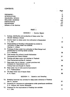 Report of the International Seminar on Deep-Water Rice, August 21-26, 1974
