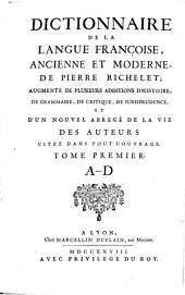 Dictionnaire françois: Volume1