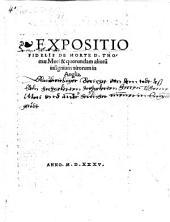 Expositio Fidelis De Morte D. Thomae Mori & quorundam aliorum insignium virorum in Anglia
