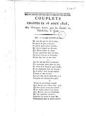 Couplets chantés le 16 août 1808, au banquet donné par la Société de l'arbalête à Gand