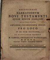 Defensionem Narrationvm Novi Testamenti Qvoad Modvm Narrandi