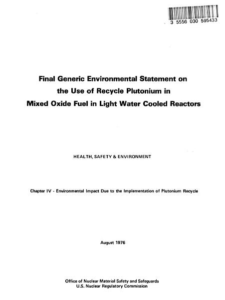 Mixed Oxide Fuels  Light Water Reactors  Use of Recycled Plutonium PDF