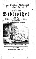 Johann Christoph Stockhausens critischer entwurf einer auserlesenen bibliothek f  r die liebhaber der philosophie und sch  nen wissenschaften     PDF