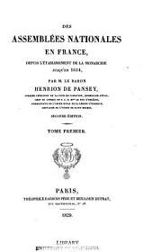 Des assemblées nationales en France: depuis l'établissement de la monarchie jusqu'en 1614, Volume 1