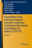 Proceedings of the Third International Scientific Conference    Intelligent Information Technologies for Industry     IITI   18  PDF