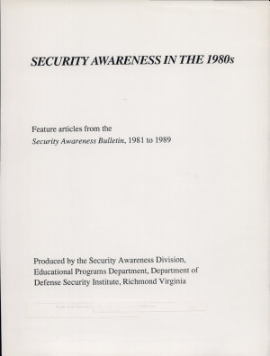 Security Awareness in the 1980s PDF