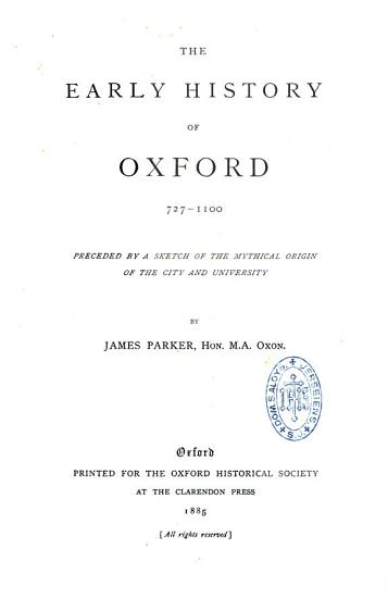 The Early History of Oxford PDF
