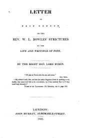 Letter to **** ****** [John Murray] on ... W. L. Bowles' strictures on the life and writings of Pope. [2 issues].