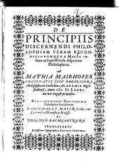 De Principiis Discernendi Philosophiam Veram Reconditioremque A Magia Infami ac superstitiosa disputatio Philosophica