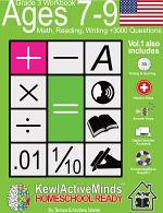 Grade 3, Ages 7-9 Math, Reading, Writing Practice Workbook - Vol1, 3000 Questions