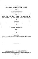 Zuwachsverzeichnis der Druckschriften der National Bibliothek in Wien PDF