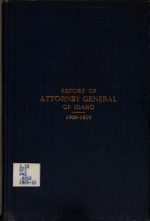 Report of the Attorney General of the State of Idaho