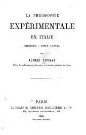 La philosophie expérimentale en Italie: origines, état actuel