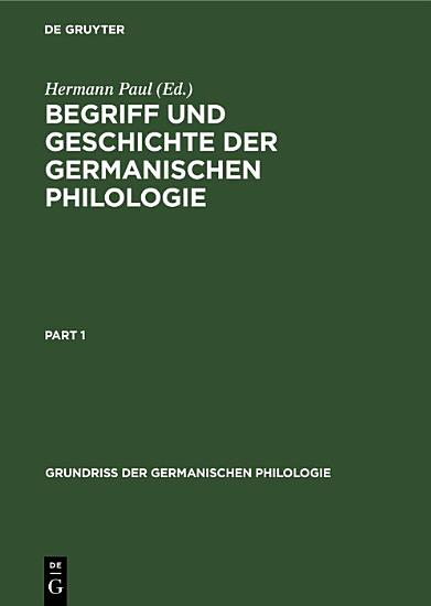 Begriff und Geschichte der germanischen Philologie PDF