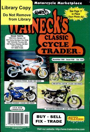 WALNECK S CLASSIC CYCLE TRADER  NOVEMBER 1999 PDF