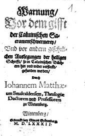 Warnung vor dem Gift der Calvinischen Sakramentschwermerey