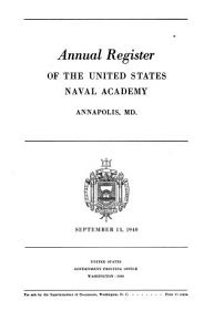 Annual Register of the United States Naval Academy  Annapolis  Md PDF