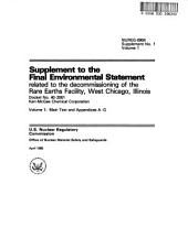 Rare Earths Facility, West Chicago, Decommissioning License: Environmental Impact Statement, Volume 1