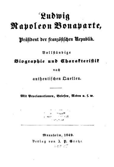 Ludwig Napoleon Bonaparte  Pr  sident der franz  sischen Republik PDF